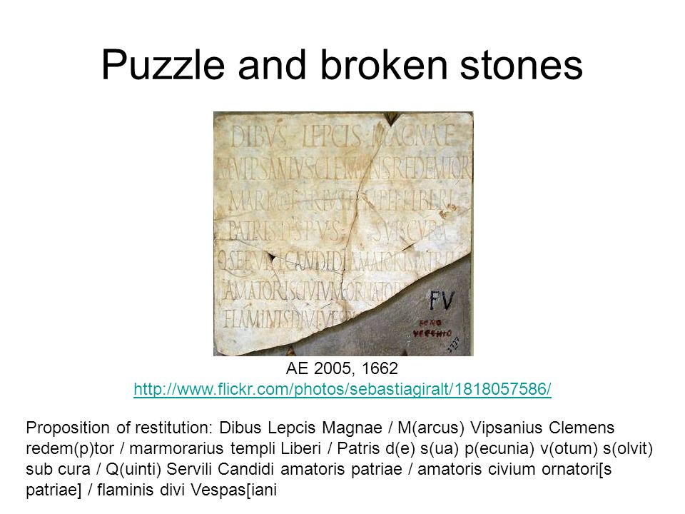 Puzzle and broken stones