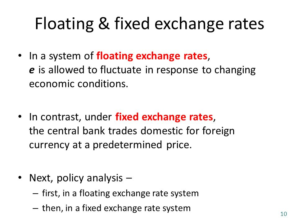 fixed exchange vs floating exchange rate system From a purely floating exchange rate, to a central bank determined fixed  exchange rate, this learning path explains the basics of each of these.