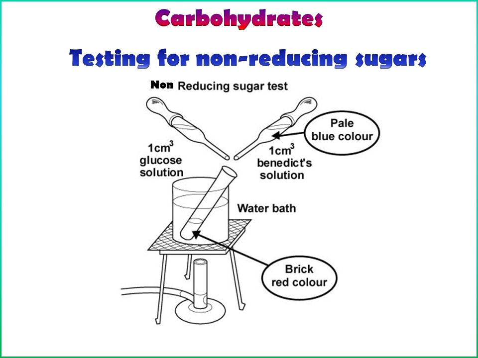 reducing sugar food test Reducing sugars test add 2cm of a solution of the reducing sugar to a test-tube  add an equal volume of benedict's solution shake and bring gently to the boil,.