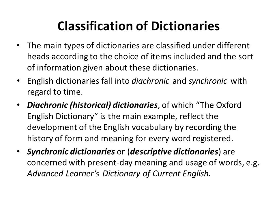 31 lexicography the main types of