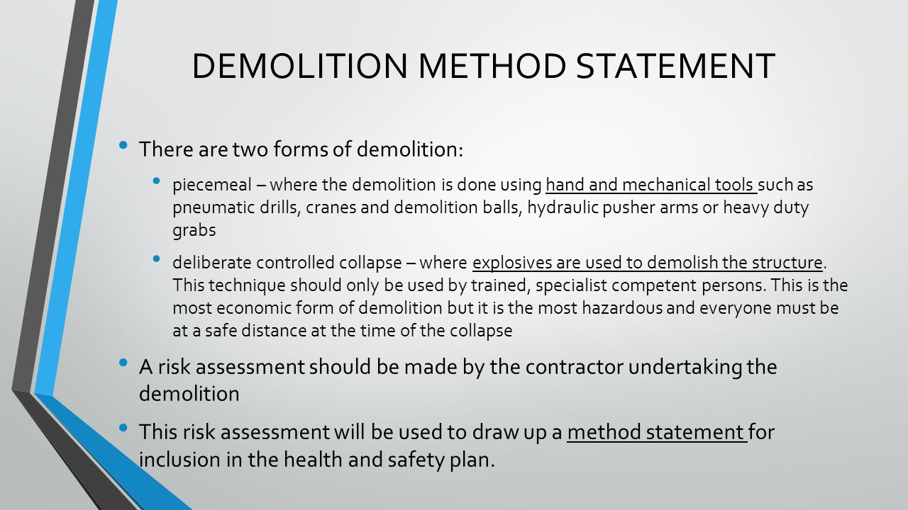 health and safety method statement template eviction