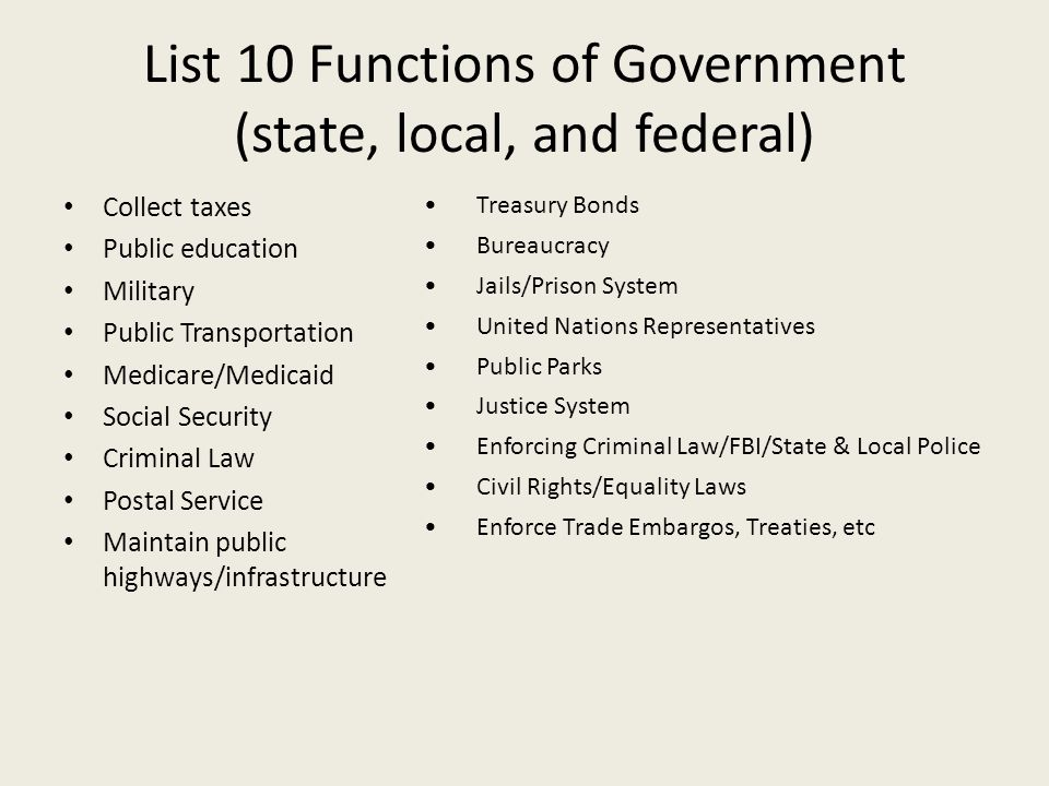the functions and functioning of the federalism system in united states The functions of  the government of the united states, the federal government, is  the constitution provides a system of checks and balances .