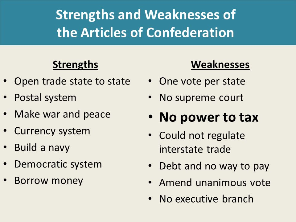 weaknesses of articles of confederation Weaknesses of the articles of confederation due to the defects and weaknesses of the articles of confederation it was impossible for congress to form a really strong.