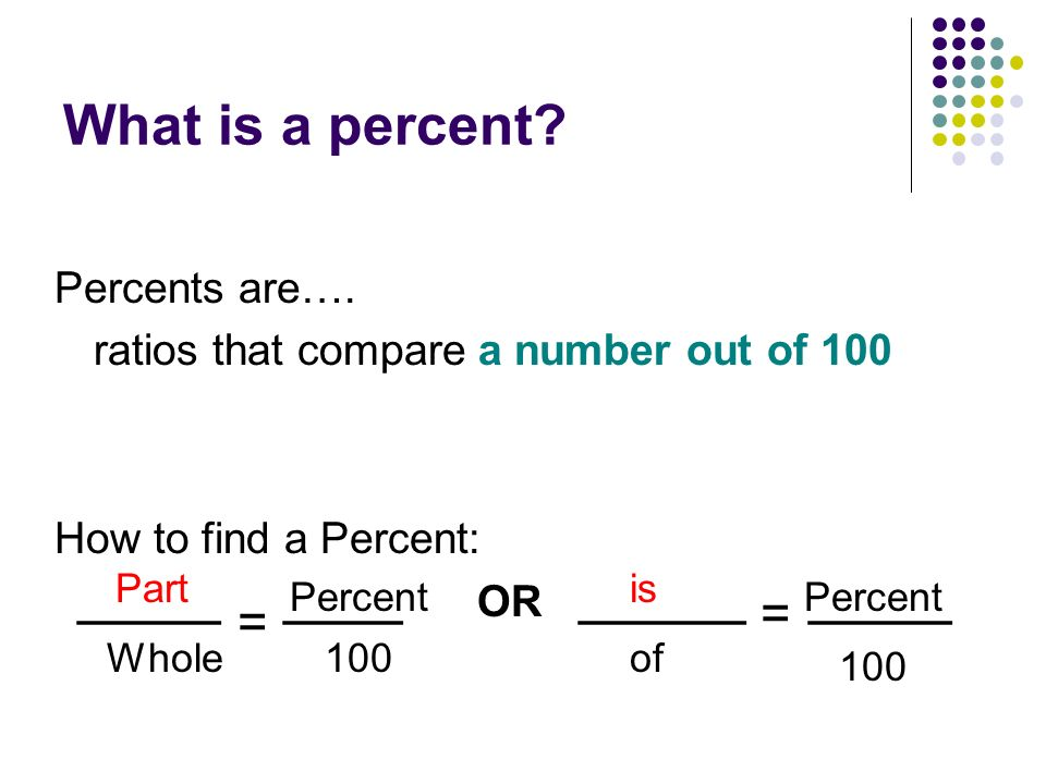 how to work out whole number from percentage