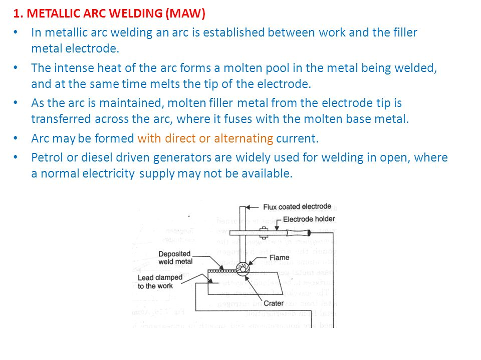 1. METALLIC ARC WELDING (MAW)