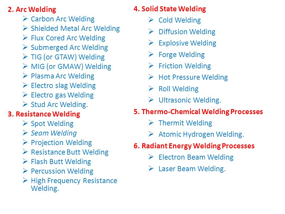 4. Solid State Welding Cold Welding. Diffusion Welding. Explosive Welding. Forge Welding. Friction Welding.