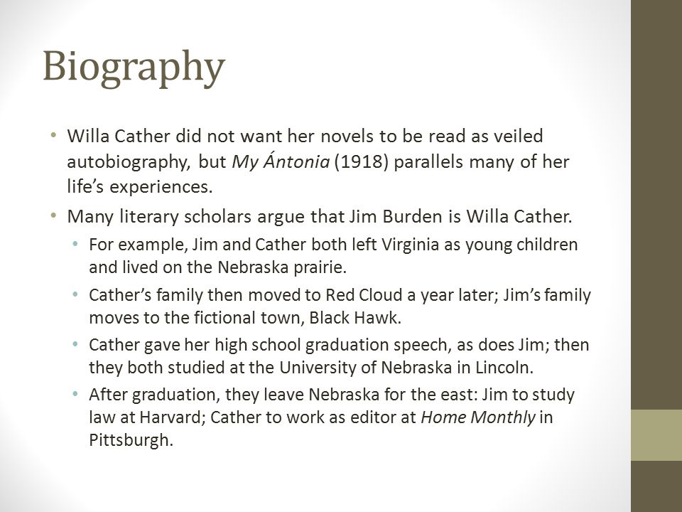 literary analysis of the novel my antonia by willa cather Free summary and analysis of the events in willa cather's my ántonia that won't make you snore we promise  literature / my ántonia /  book 1, chapter 1 .