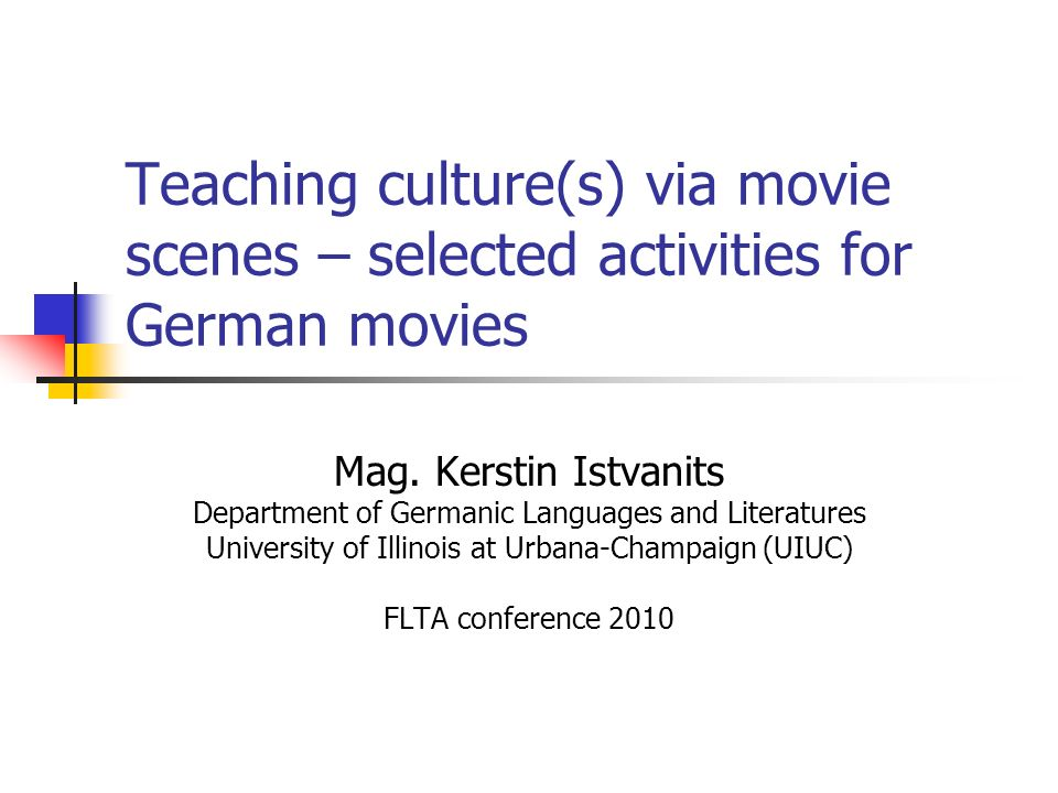 Teaching culture(s) via movie scenes – selected activities for German movies
