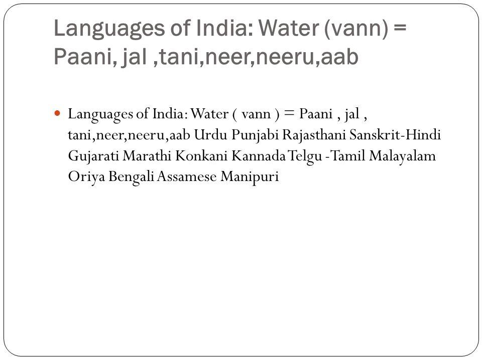 Languages of India: Water (vann) = Paani, jal ,tani,neer,neeru,aab