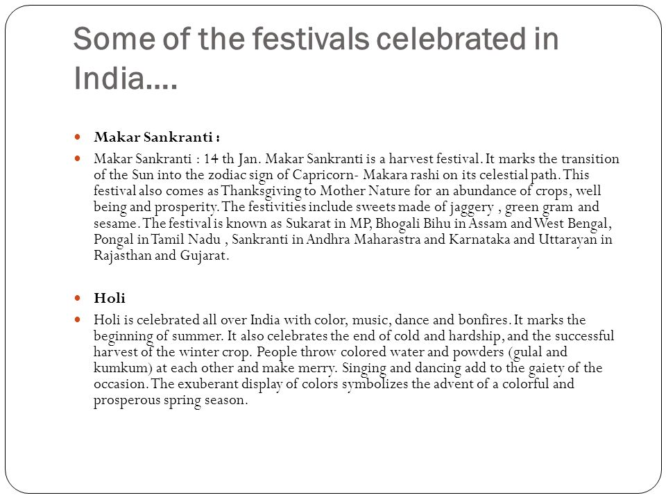 Some of the festivals celebrated in India….