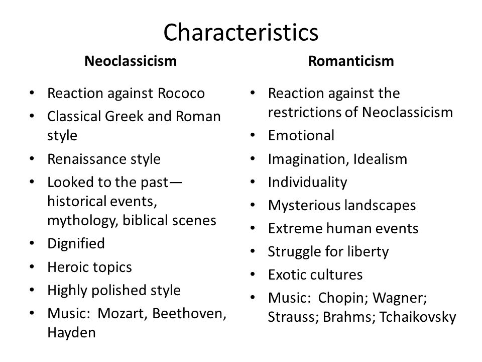 romantic vs. neoclassicism essay Romanticism essay examples the romantic era the romantic period in music extended from about 1820 to 1900 among the most.