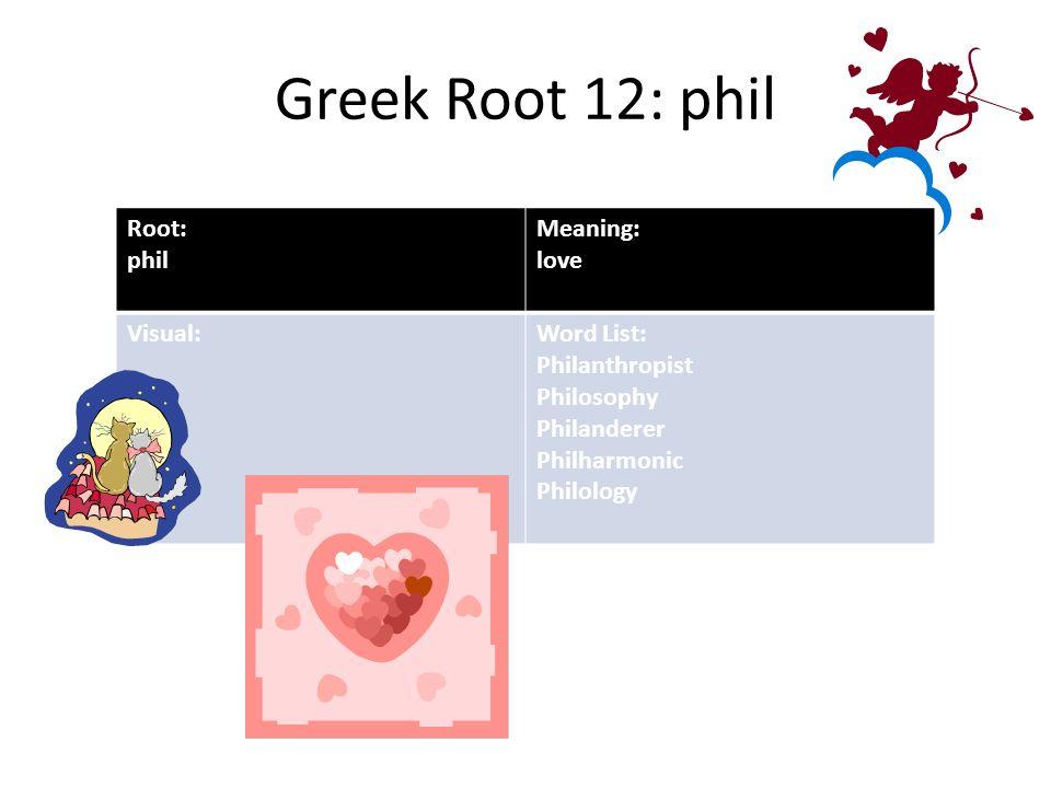 Greek Root  Phil Root Phil Meaning Love Visual Word List