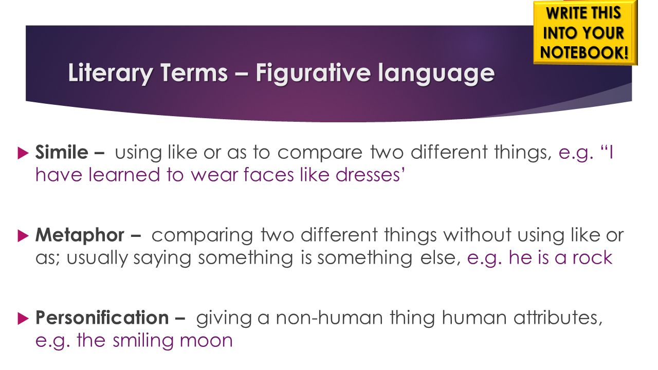 figurative language terms Figurative language, also called a figure of speech, is a word or phrase that departs from literal language to express comparison, add emphasis or clarity, or make the writing more interesting with the addition of color or freshness.