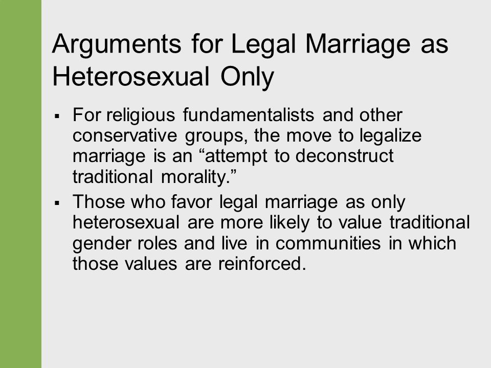 an argument in favor of legalizing gay marriage He also suggested the majority opinion could be used to expand marriage to include legalized gay marriage soon arguments in obergefell v hodges.