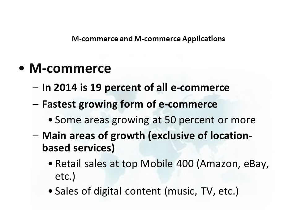 M-commerce and M-commerce Applications