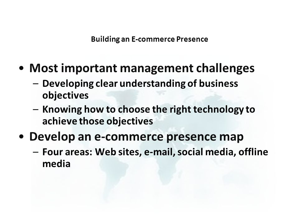 Building an E-commerce Presence