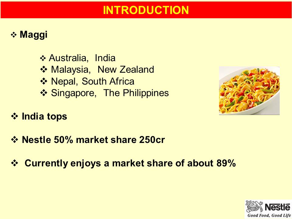 market study of nestle philippines The marketing strategy of nestle has remained formidable even in the face of great challenges and that is why it has become a model for other businesses to aspire to below are just some of the details involved in this company's marketing strategy.