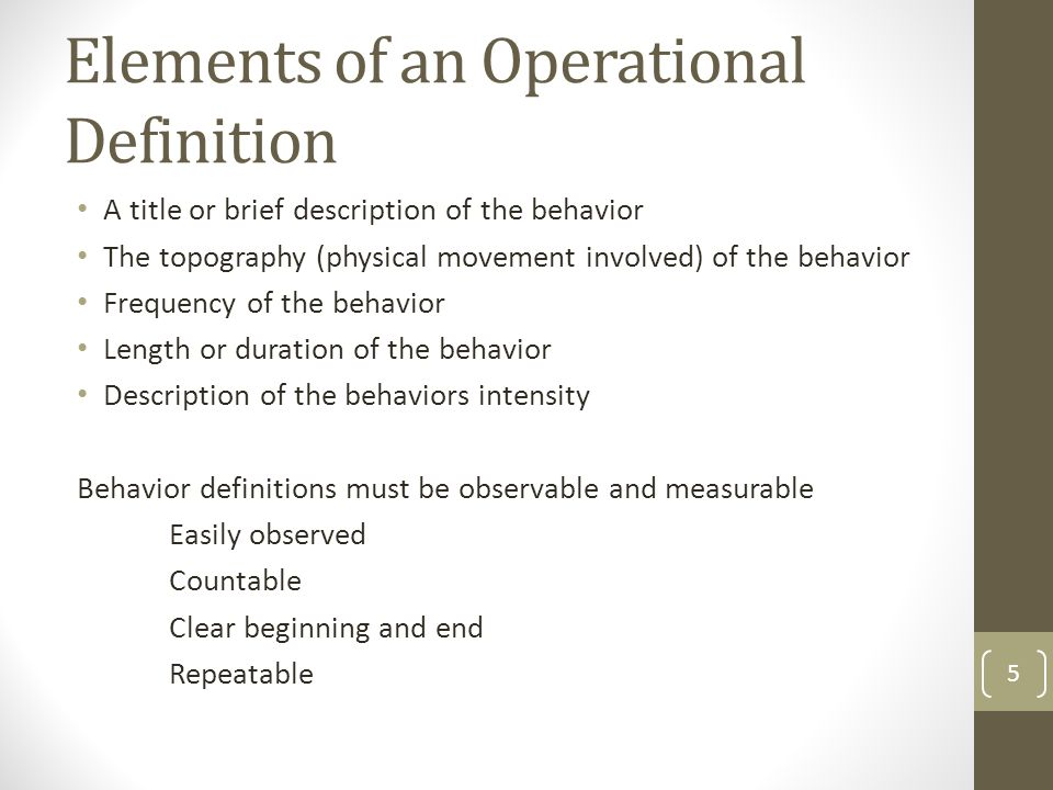 Operational definition of terms