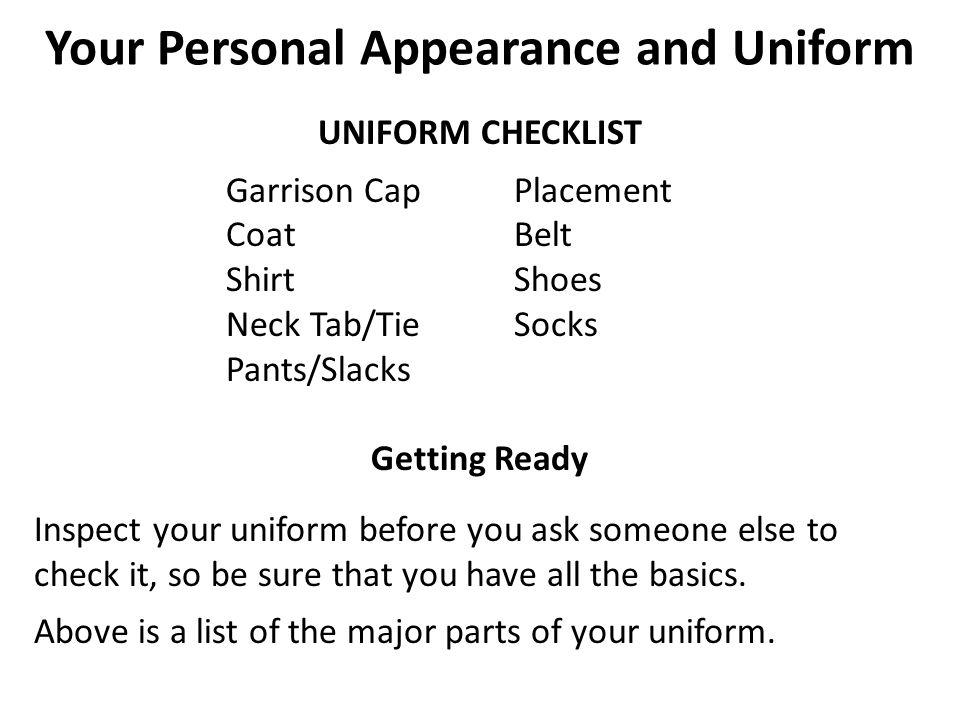 Your personal appearance and uniform ppt video online download 22 your personal appearance ccuart Gallery