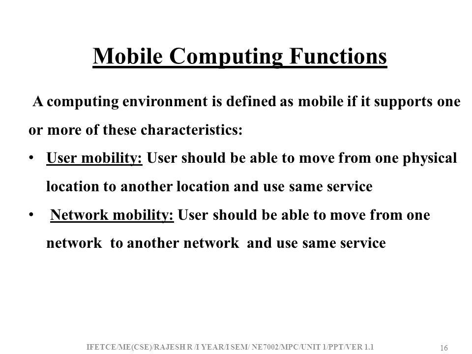 Mobile Computing Functions