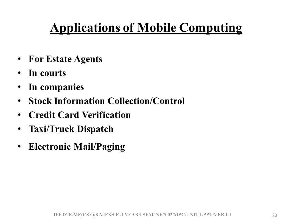 Applications of Mobile Computing