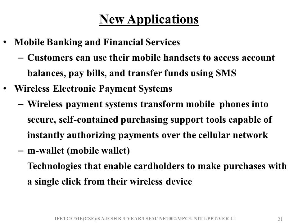 New Applications Mobile Banking and Financial Services