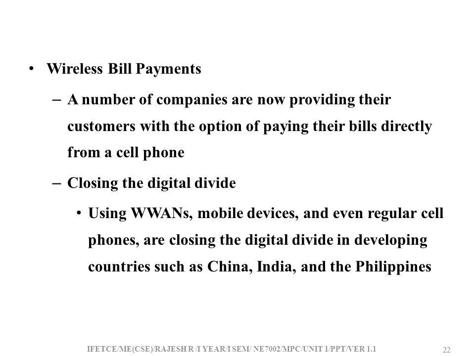Wireless Bill Payments