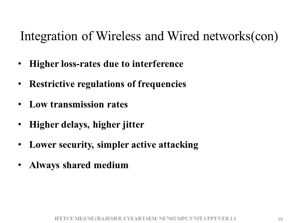 Integration of Wireless and Wired networks(con)