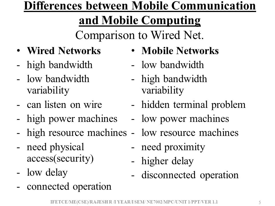 Differences between Mobile Communication and Mobile Computing Comparison to Wired Net.