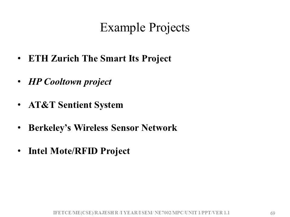 Example Projects ETH Zurich The Smart Its Project HP Cooltown project