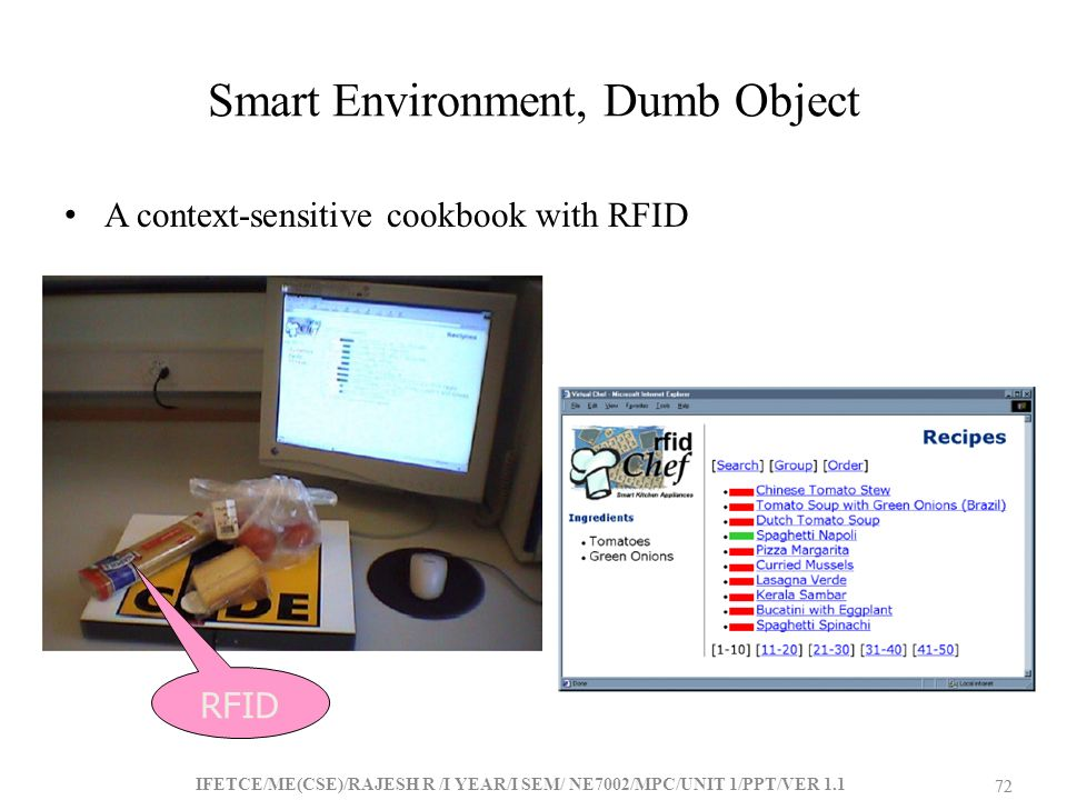 Smart Environment, Dumb Object