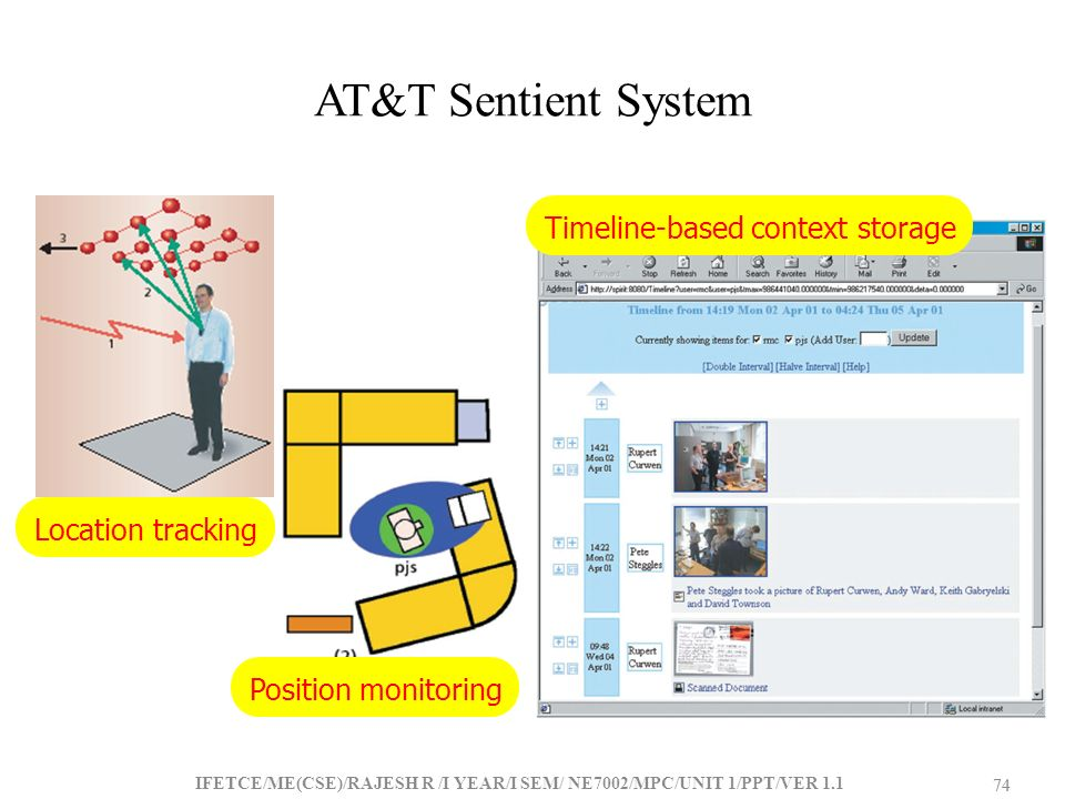 AT&T Sentient System Timeline-based context storage Location tracking