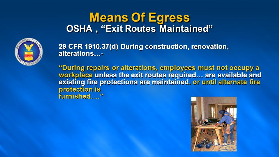 Means Of Egress OSHA  Exit Routes Maintained  sc 1 st  SlidePlayer & NFPA 101 Life Safety Code Means of Egress Presented By: - ppt download pezcame.com