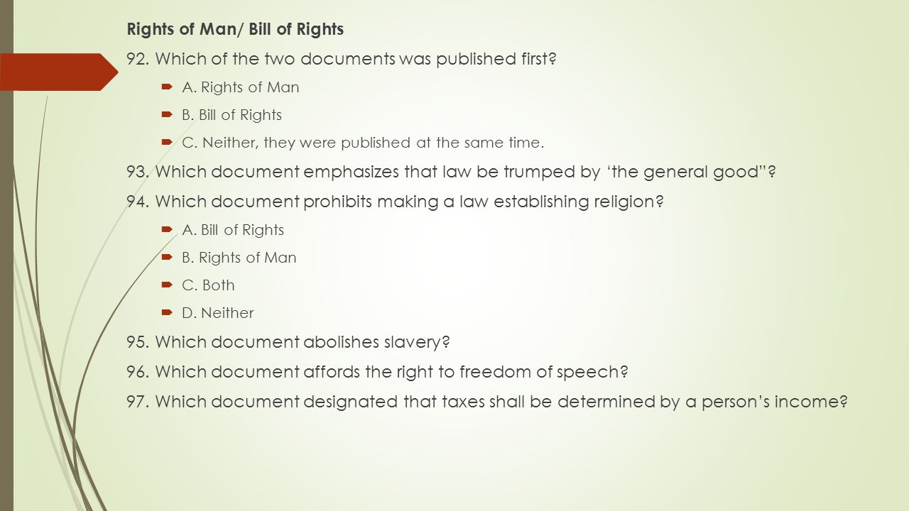 Rights of Man/ Bill of Rights