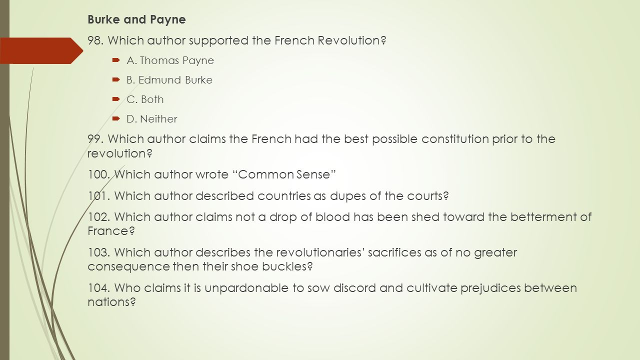 98. Which author supported the French Revolution