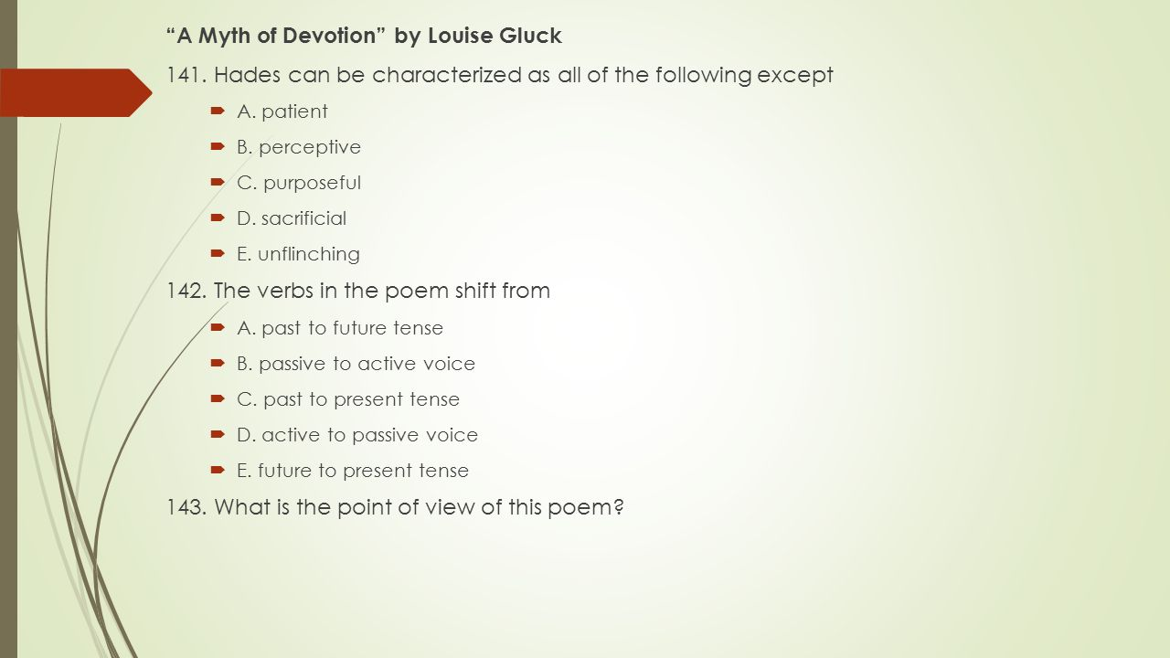 A Myth of Devotion by Louise Gluck