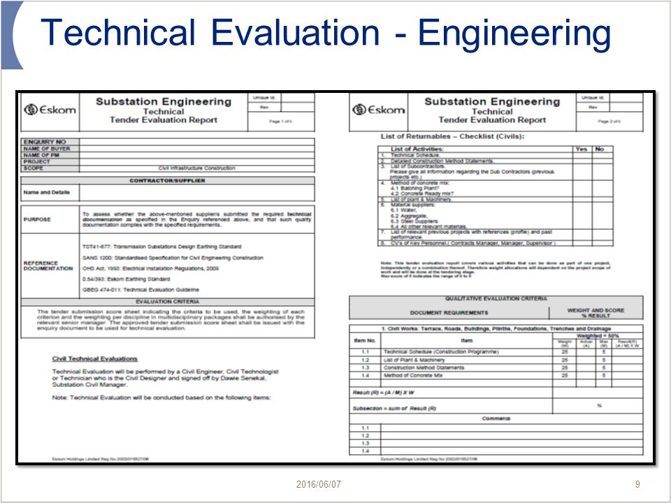 technical evaluation report The technical evaluation template is used to document the operational requirements for the technology support it provides the understanding of the hardware and software requirements to prepare and maintain end user availability.