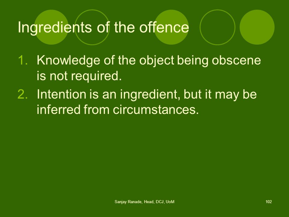 Ingredients of the offence