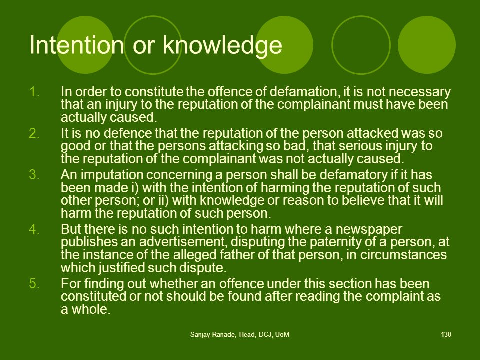 Intention or knowledge
