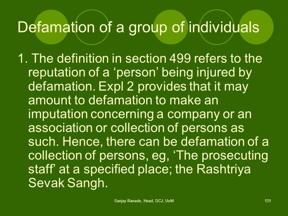 Defamation of a group of individuals