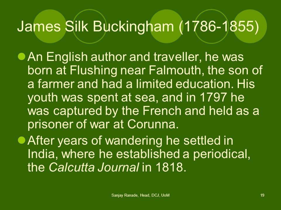 James Silk Buckingham (1786-1855)