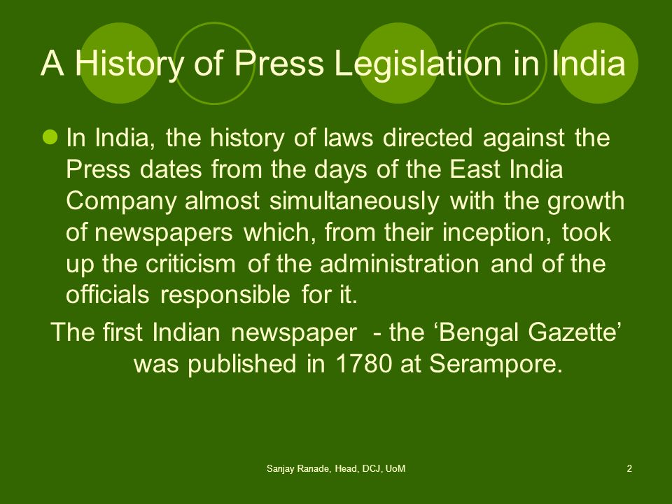 A History of Press Legislation in India