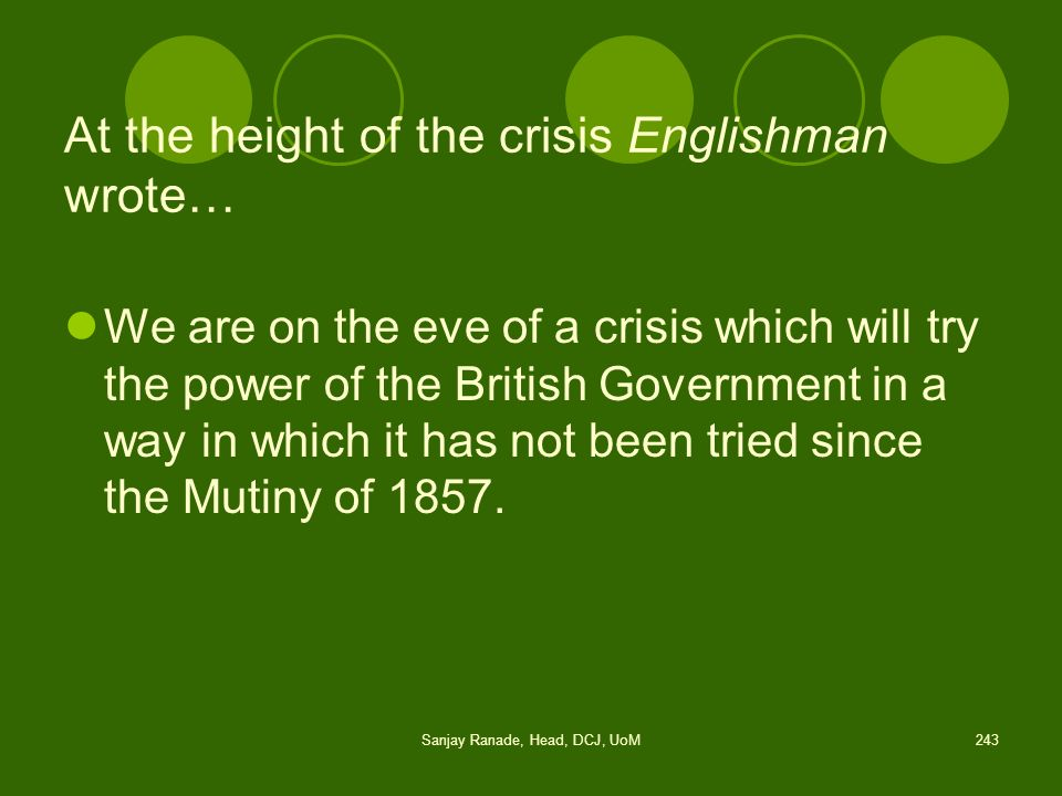 At the height of the crisis Englishman wrote…
