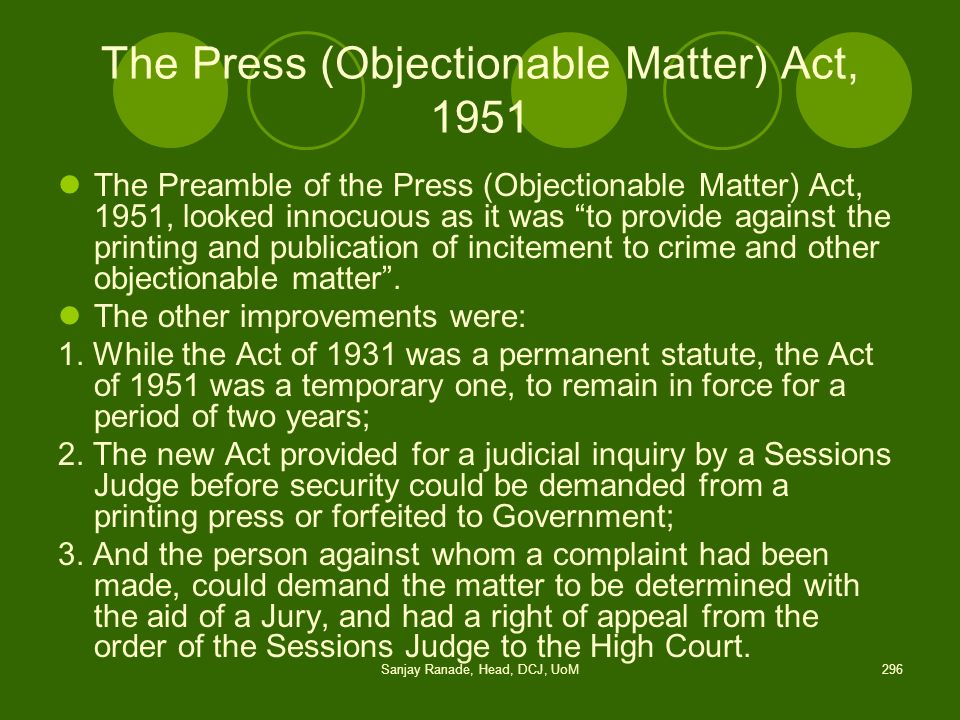The Press (Objectionable Matter) Act, 1951