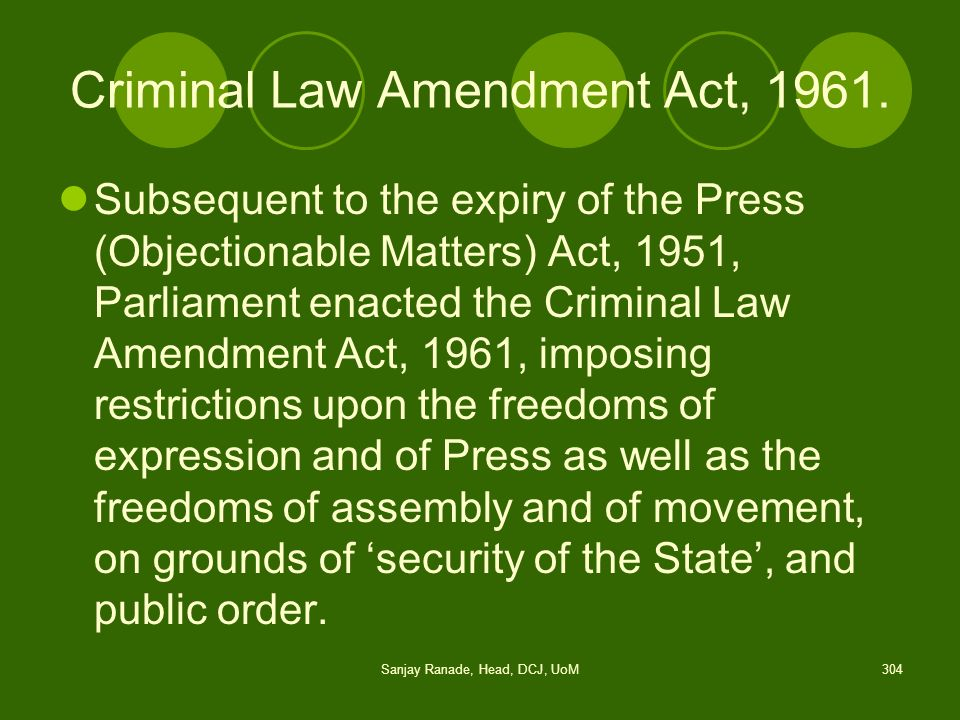 Criminal Law Amendment Act, 1961.
