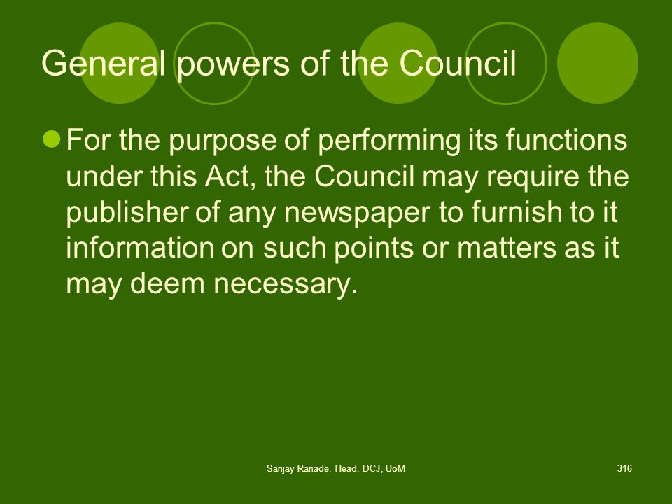 General powers of the Council
