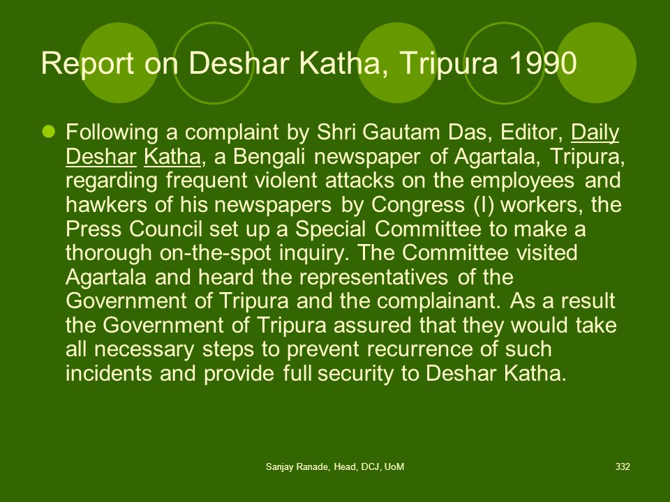 Report on Deshar Katha, Tripura 1990