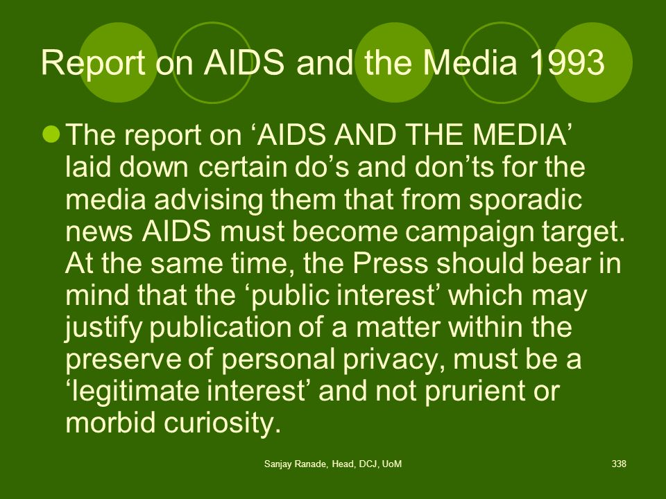 Report on AIDS and the Media 1993