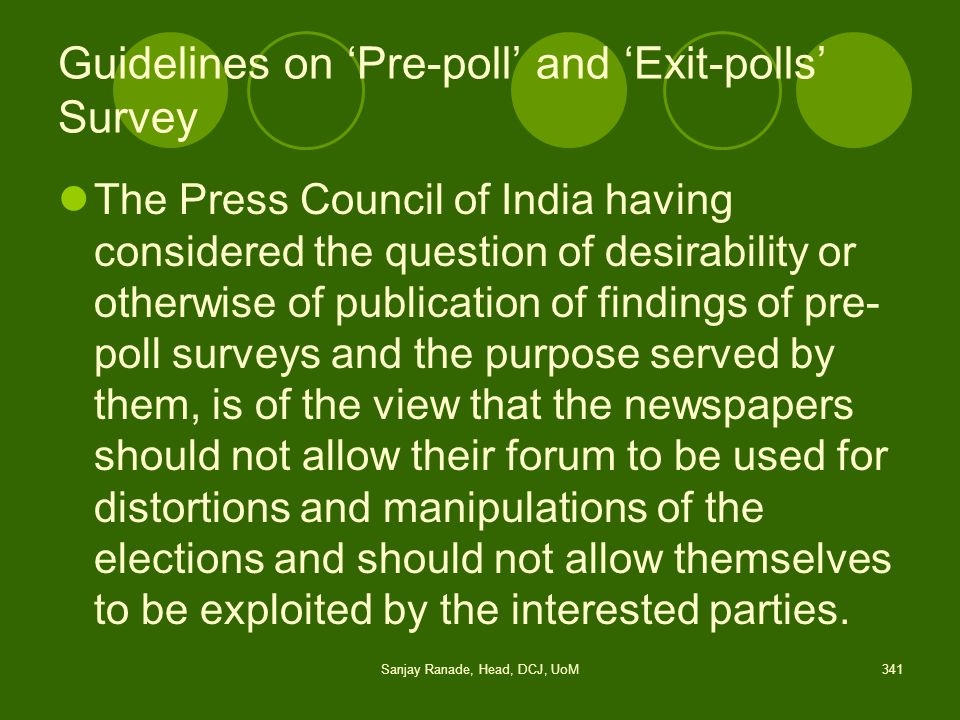 Guidelines on 'Pre-poll' and 'Exit-polls' Survey