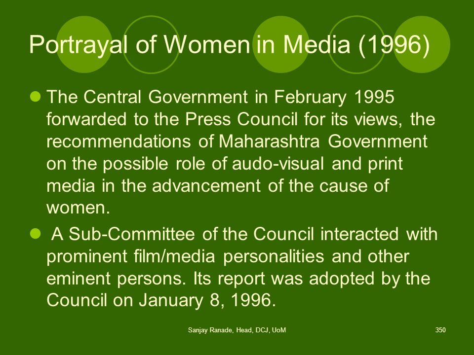 Portrayal of Women in Media (1996)